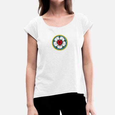 1517 Luther. Rose. Flower. Reformation. 500. 1517 - Women's T-Shirt with rolled up sleeves