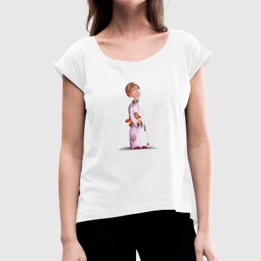 Teddy Girl Girl with teddy - Women's T-Shirt with rolled up sleeves