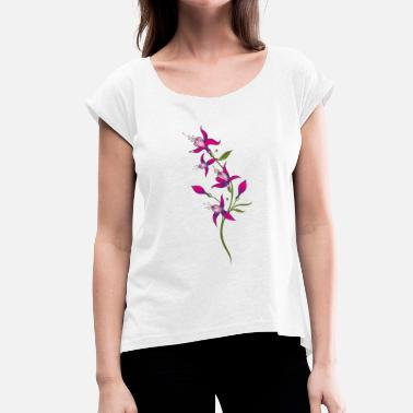 Floral Vine Summer flowers, fuchsias. Purple, pink. - Women's T-Shirt with rolled up sleeves