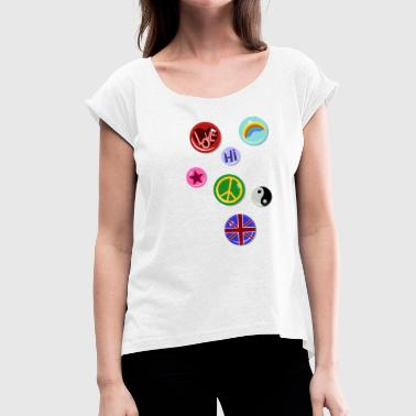 Fake Kids Buttons Buttons Pins Buttons Fake - Women's T-Shirt with rolled up sleeves