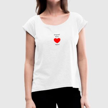 Antiquated Hearts Gothic Writing - Vrouwen T-shirt met opgerolde mouwen