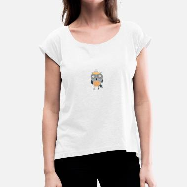 Bobble Owl with bobble hat - Women's T-Shirt with rolled up sleeves