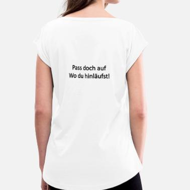 Empiècements Attention! - T-shirt à manches retroussées Femme