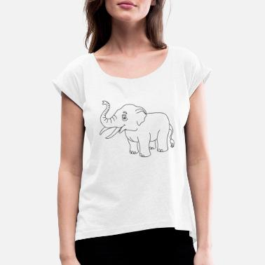 Outline Graphics Elephant elephant outline animal outline outline graphics - Women's Rolled Sleeve T-Shirt
