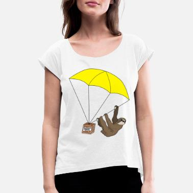 Paraglider Sloth parachute - Women's T-Shirt with rolled up sleeves