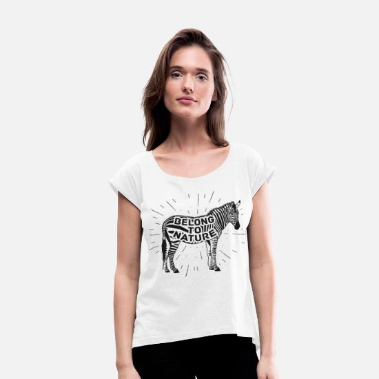 Gift Idea T-Shirts - zebra - Women's Rolled Sleeve T-Shirt white