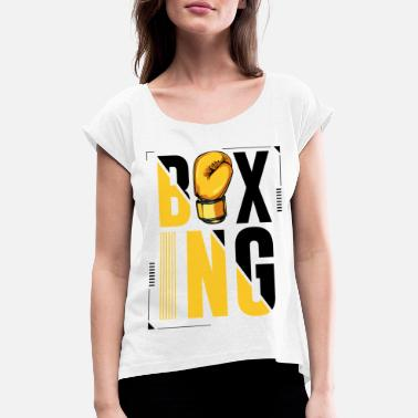 Letter Boxing Boxing lettering boxing gloves boxer gift - Women's Rolled Sleeve T-Shirt