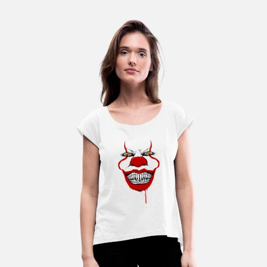 Grin T-Shirts - Halloween grin - Women's Rolled Sleeve T-Shirt white