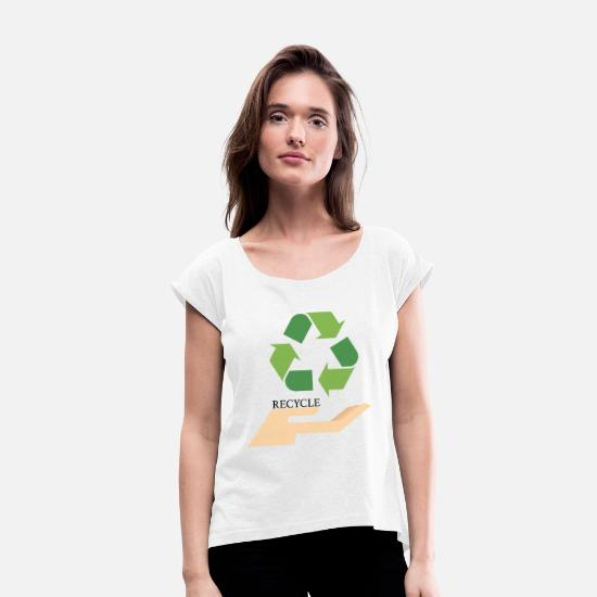 Enviromental T-Shirts - Recycling - Women's Rolled Sleeve T-Shirt white
