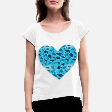 Animal Turtles heart animal welfare - Women's Rolled Sleeve T-Shirt