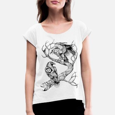 Mythical Collection Huginn und Muninn SW - Frauen T-Shirt mit gerollten Ärmeln