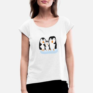 South Pole Cute Penguin Family on Ice Floe - Women's Rolled Sleeve T-Shirt