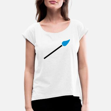 Paint Brush paint brush with paint - Women's Rolled Sleeve T-Shirt