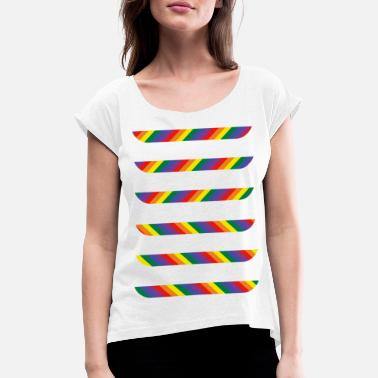 Rainbow pattern - Women's T-Shirt with rolled up sleeves