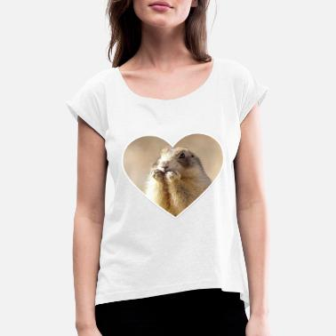 Rodent rodent rodents heart cute - Women's Rolled Sleeve T-Shirt