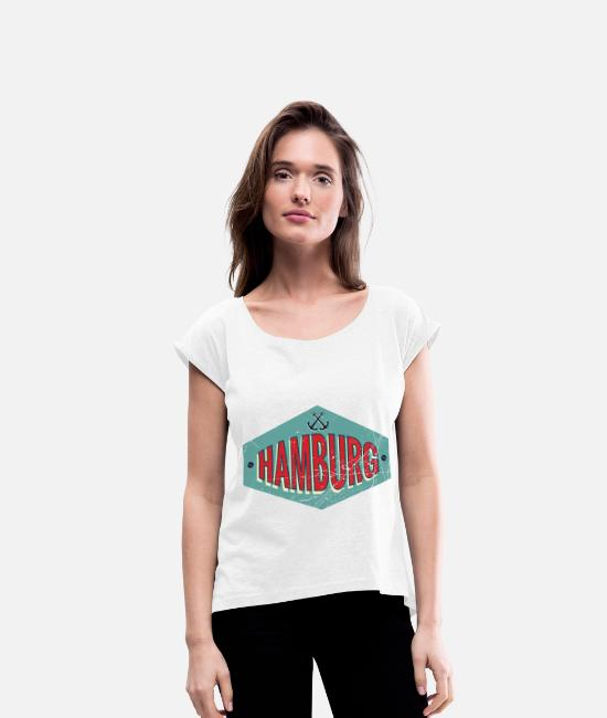 Harbour T-Shirts - Anchor port Hamburg HH - Women's Rolled Sleeve T-Shirt white