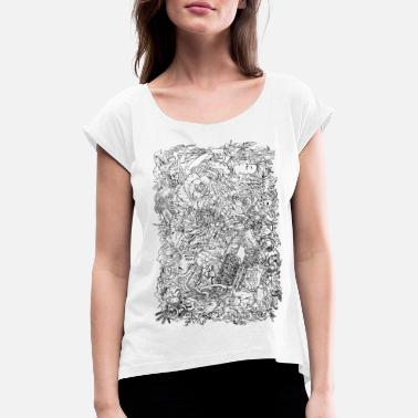 Engines_on_hochkant - Frauen T-Shirt mit gerollten Ärmeln