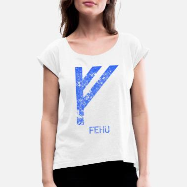Old Norse Fehu Futhark Vikings Norse mythology runes - Women's T-Shirt with rolled up sleeves