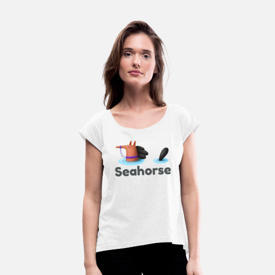 Geek T-Shirts - Funny seahorse artwork showing swimming horse - Women's Rolled Sleeve T-Shirt white