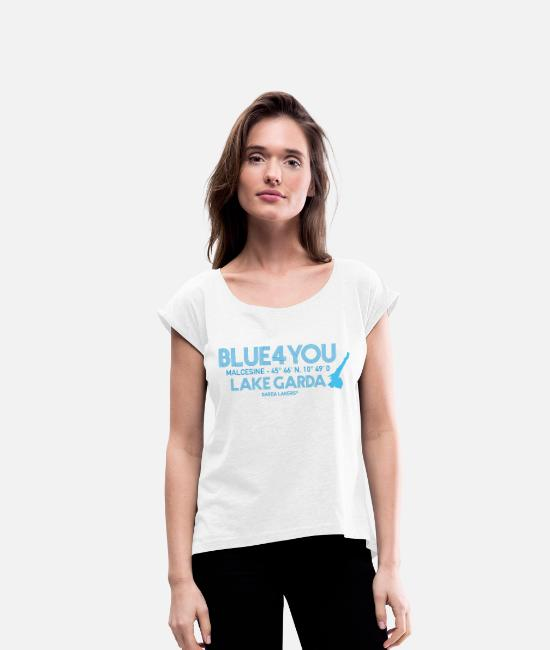Sail Boat T-Shirts - Garda Lakers Blue 4 You Malcesine - Women's Rolled Sleeve T-Shirt white