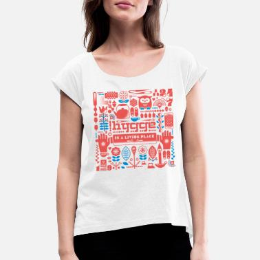 Hyggecontest Hygge, A Living Place (Multicolor) - Frauen T-Shirt mit gerollten Ärmeln