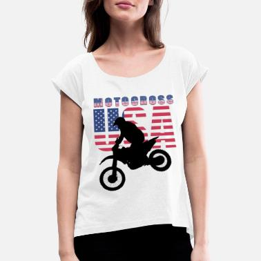 USA Motocross Riders and Bikers - Frauen T-Shirt mit gerollten Ärmeln