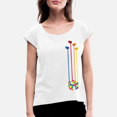 Rubik's Cube Colourful Paint Buckets - Women's Rolled Sleeve T-Shirt
