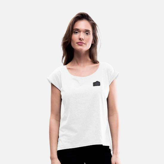 Gift Idea T-Shirts - Camera Logo SLR Photographer Gift Idea - Women's Rolled Sleeve T-Shirt white