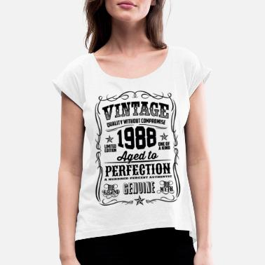 1988 1988 Vintage 30th Birthday gift 30 years old - Women's Rolled Sleeve T-Shirt
