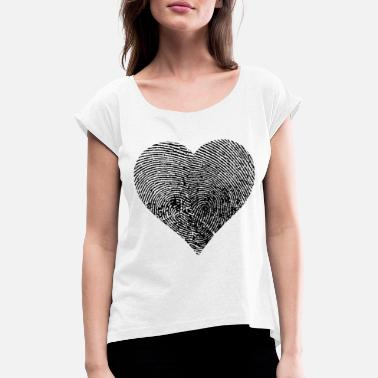 Heart Fingerprint Heart - Black - Women's Rolled Sleeve T-Shirt