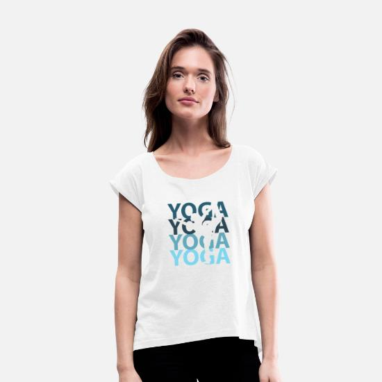Ballerina T-Shirts - Yoga clothing - Women's Rolled Sleeve T-Shirt white
