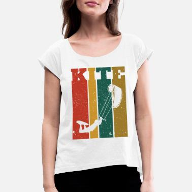 Kiteboard Retro Kiteboard Kiteboarder Kiteboarding - Women's Rolled Sleeve T-Shirt