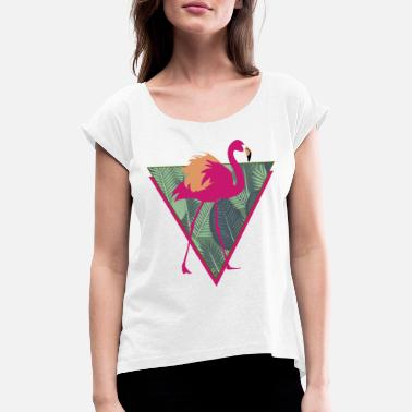 Flamingo Animal Planet Tropischer Vogel Pink Flamingo - Frauen T-Shirt mit gerollten Ärmeln
