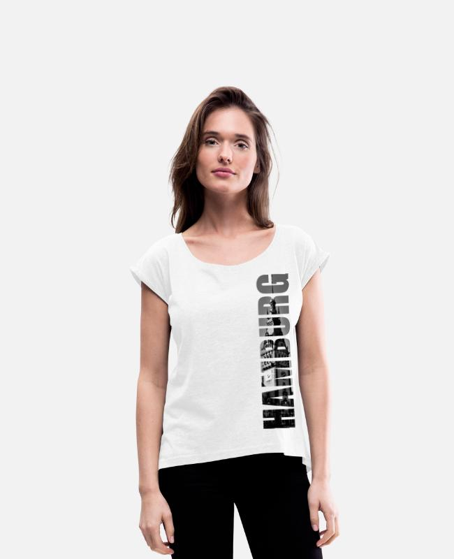Hamburger T-Shirts - Hamburg town hall - Women's Rolled Sleeve T-Shirt white
