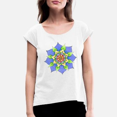 Painted Mandala hand painted by Sylvia Polis - Women's Rolled Sleeve T-Shirt