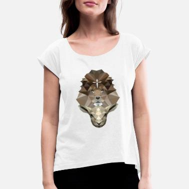 Lamb The Lion & The Lamb - Leo & Lamb - Jesus - Poly - Women's Rolled Sleeve T-Shirt