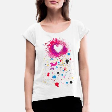 Spray heart Spray - T-shirt med rulleærmer dame