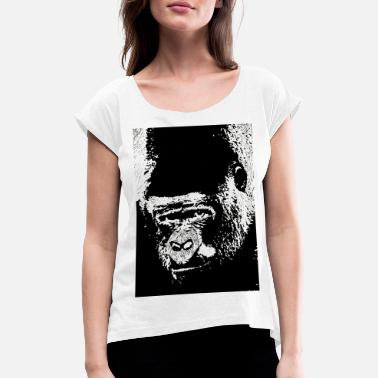Lino Cut Gorilla Gaze - Women's Rolled Sleeve T-Shirt