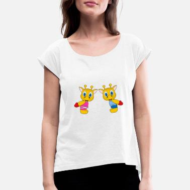 Heart Funny giraffes - heart - love - love - fun - Women's Rolled Sleeve T-Shirt