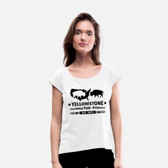 National Park T-Shirts - Bison Buffalo Yellowstone National Park Wyoming USA - Women's Rolled Sleeve T-Shirt white