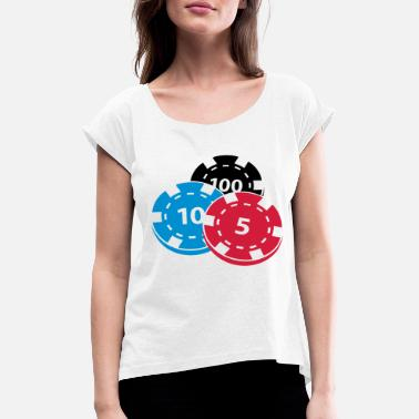 Pokerchips Pokerchips - Frauen T-Shirt mit gerollten Ärmeln