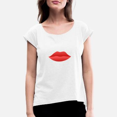 Red Lip - Women's Rolled Sleeve T-Shirt