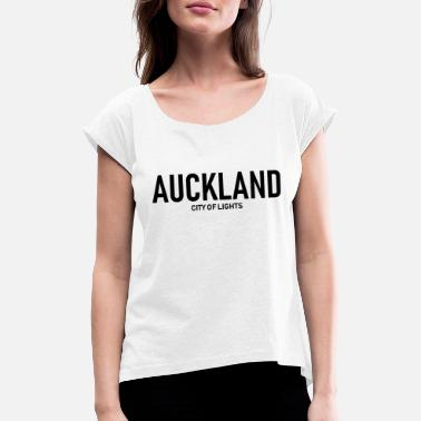 Auckland Auckland - City of Lights - New Zealand Neuseeland - Frauen T-Shirt mit gerollten Ärmeln