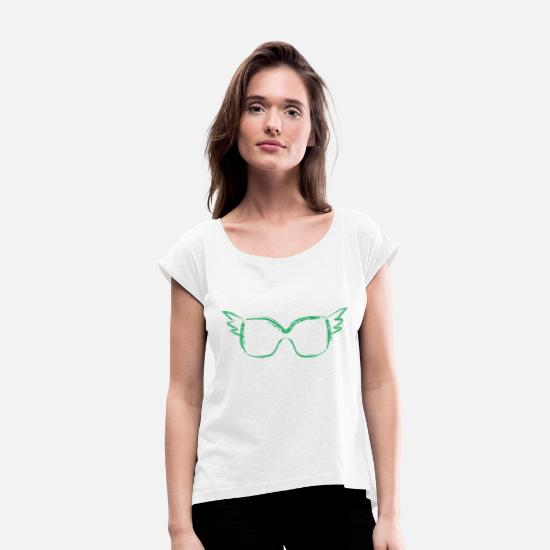 Cobra T-Shirts - Glasses with a look gift optics eyes design - Women's Rolled Sleeve T-Shirt white
