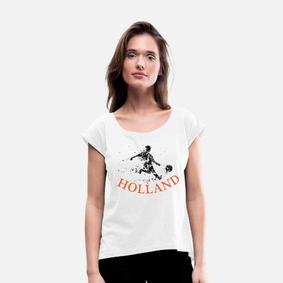 Orange T-shirts - ACTION DE FOOTBALLER DE HOLLAND - T-shirt à manches retroussées Femme blanc