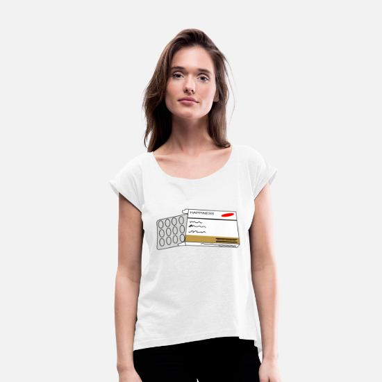 Luck T-Shirts - Happiness - Women's Rolled Sleeve T-Shirt white