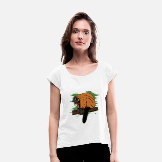 Nocturnal T-Shirts - Endemic lemur animal of Madagascar - Women's Rolled Sleeve T-Shirt white