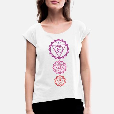 Chakra 3 chakra tshirt tri-color yoga motif - Women's T-Shirt with rolled up sleeves