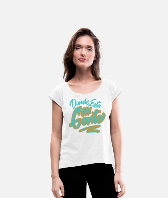 Road Bike T-Shirts - Gente Graphic - Women's Rolled Sleeve T-Shirt white