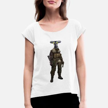 Kiss Army Spy with robot arm and army jacket - Women's Rolled Sleeve T-Shirt